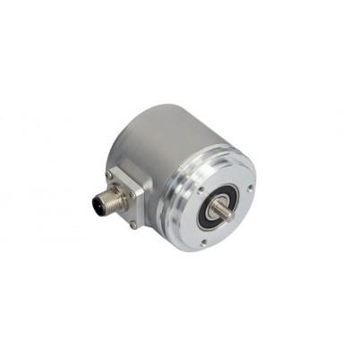 Инкрементален енкодер, ротационен, програмируем HTL/TTL, 1 до 16384 импулса, съединител - радиален m12, IP64 / IP65, големина на корпуса 58 mm, вал с дължина 6 mm