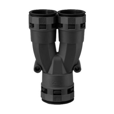 Шуцер, Y разклонител, за размер шлаух ND-29 + ND-23 + ND-23, монтаж без инструмент, цвят черен