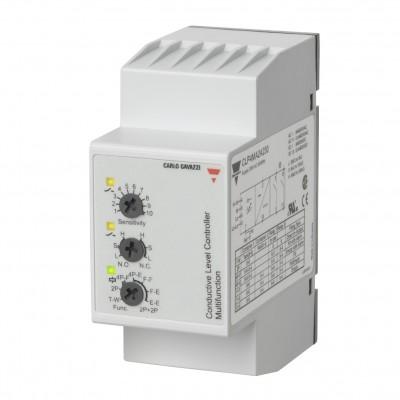 Ниворегулатор с обхват 250 Ω - 500 KΩ за пълнене и източване с 4 входа, захранване 230 V AC, изход 2 NO контакта, монтаж цокъл