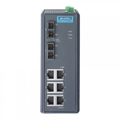8 - портов, промишлен, неуправляем, гигабитов суич, 6 x 10/100/1000 RJ 45, 2 * SC Сингъл мод, -40 °C...75 °C, IP30, монтаж на DIN шина