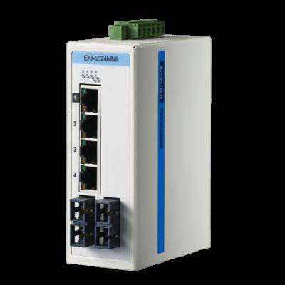 6 - портов, промишлен, неуправляем, гигабитов суич, 4 x 10/100/1000 RJ 45, 2 * ST Сингъл мод, -10 °C ... 60 °C, IP30, монтаж на DIN шина, Modbus TCP/IP