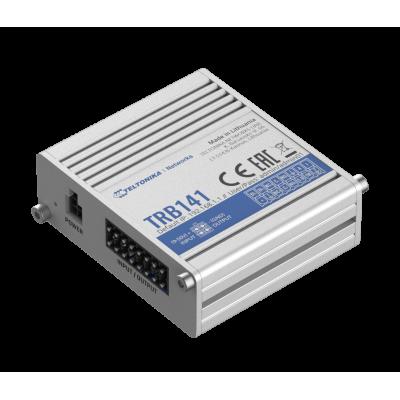 TRB141 e индустриален LTE Cat 1 шлюз е оборудван с микро USB и различни опции за вход / изход, включително цифрови, релейни, аналогови и изолирани