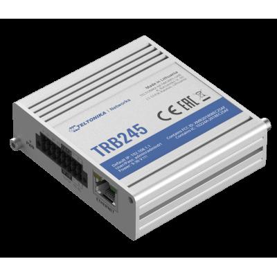 TRB245 е индустриелен LTE Cat 1 шлюз, оборудван с интерфейс RS485, RS232, LAN, 3 x конфигурируеми I / O, 1 x аналогов вход