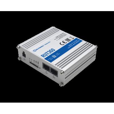 RUT360 е клетъчен рутер 4G (LTE) – Cat 4 (300 Mbps)  оборудван с два Ethernet интерфейса, 802.11 b / g / n WiFi и 4G LTE Cat 6 клетъчен модул, предлагащ скорост на данни до 300 Mbps.