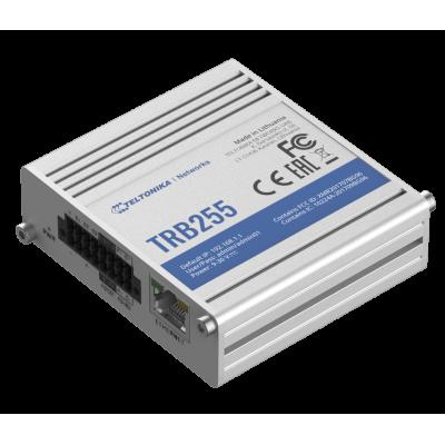 TRB255 е индустриелен LTE Cat 1, NB-IoT шлюз, оборудван с интерфейс RS485, RS232, LAN, 3 x конфигурируеми I / O, 1 x аналогов вход
